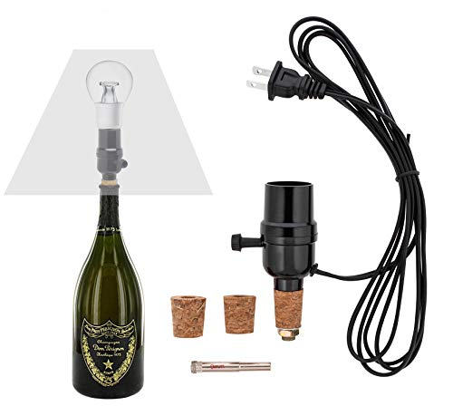 Bottle lamp kit, with 9mm Glass Drill bit, Works with Wine Bottle or Any Other Glass Liquor Bottles, UNO Slip-on Socket 8 ft Black Cord UL Listed lamp Wiring Parts.