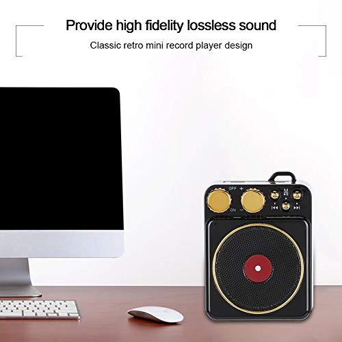 DC 3,7 V Retro Bluetooth 5,0 Lautsprecher, Bluetooth Lautsprecher Smart Audio Unterstützung Freisprechen/FM Radio/USB/TF Karte, klassische Retro Mini Multifunktions-Lautsprecher, Geschenk(Schwarz)
