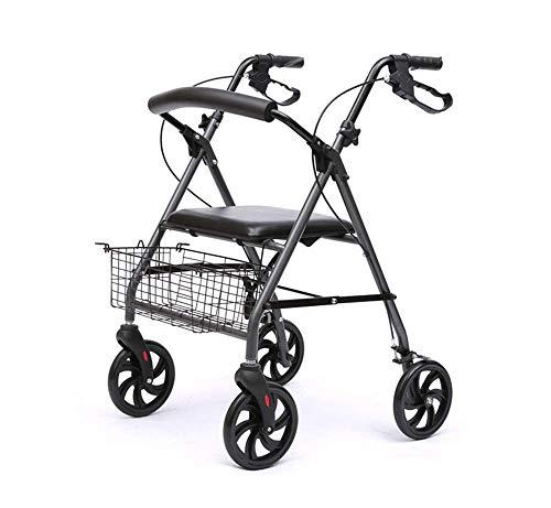 HXCD Rollator Walker für ältere Menschen, 4-Rad-Rollator mit Bremsen, Gehhilfe, Gehgestell für Behinderte, Unter-Sitztasche, ergonomische Bremsen und gepolsterter Rücken, modernes Design