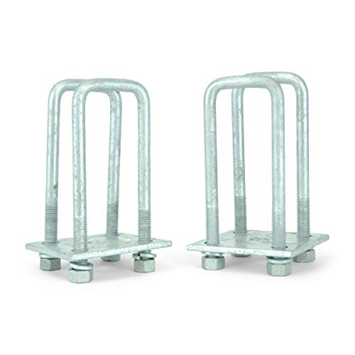 """Sturdy Built Single Axle Galvanized U Bolt Kit for mounting Boat Trailer Leaf Springs for 2x3 axle - 6 1/4"""" Long"""