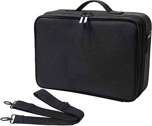 """Gloriest Travel Makeup Bag (3 Layer) with Adjustable Dividers, Makeup Organizer Bag, Multipurpose Cosmetic Organizer, Overnight Pouch Compartments 15.7""""X11""""X4.7""""(Black)"""