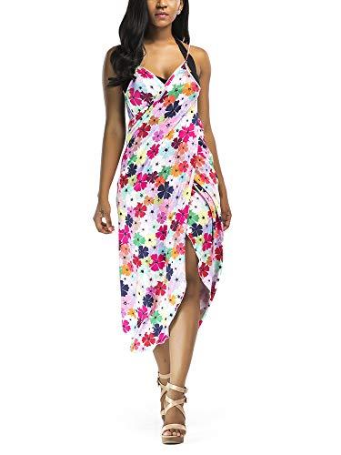 Vialogry Traje de baño de bikini para mujer, estampado floral/geométrico, vacaciones, protección solar al aire libre, toalla de baño