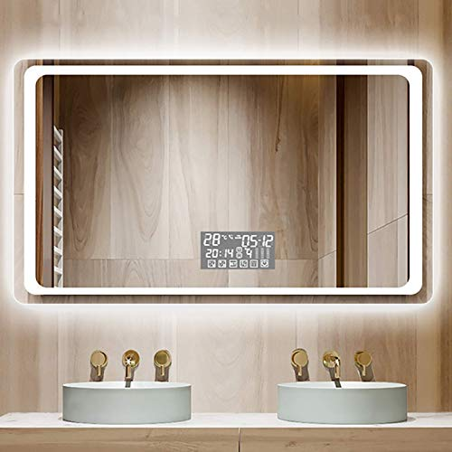 ZCZZ Espejos de baño iluminados LED espejo de baño, espejo de pared rectangular de baño, sensor de control táctil con almohadilla antiempañamiento, atenuación y 3 colores de luz, Bluetooth, IP44