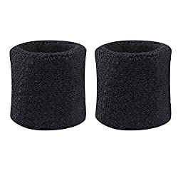 geshiglobal sweatbands made of cotton, for wrists, sports, tennis, 2 pieces, black