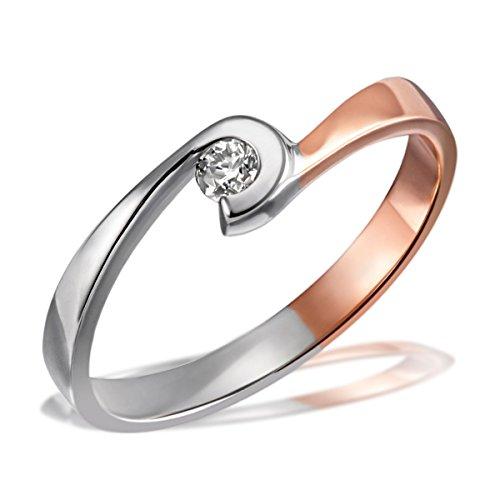 Goldmaid Damen-Ring Silber vergoldet rhodiniert Diamant (0.1 ct) weiß Brillantschliff Gr. 56 (17.8) - Sg R7444S58556 Verlobungsring Diamantring