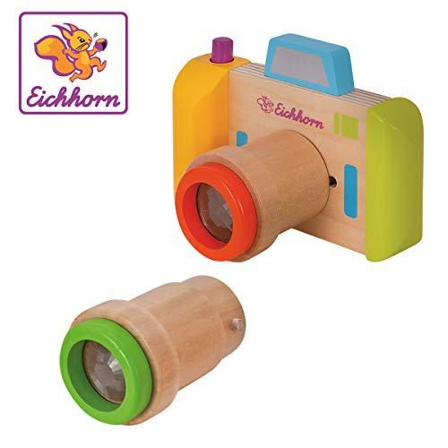 Eichhorn 100003460 Kaleidoskop, 3 teilig, Kamera und 2 Objektive, Material, Kinder ab einem Jahr geeignet Drehfunktion, Birkenholz, Birkensperrholz, BSK, 1J+, bunt, 12,5x9x7,5cm