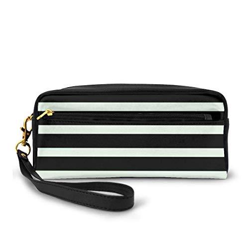 Yuanmeiju Stripe Black & White Horizontal Rectangular Cosmetic Bag Portable Students Mäppchen for Girls Women Handbag Purse Make Up Pouch