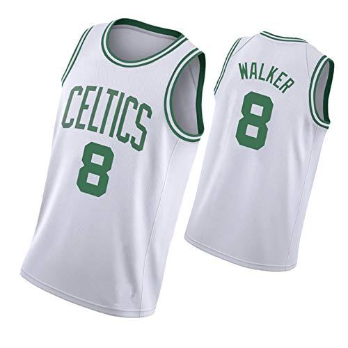 LZZQMR Chaleco de Baloncesto Bordado para Hombres Adecuado para Celtic # 8 Walker Swingman Jersey, Top de Baloncesto de poliéster, Camisa de Entrenamiento Deportivo, Secado White1-2XL