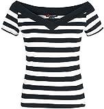 Hell Bunny Caitlin Top Girl-Shirt schwarz/weiß M