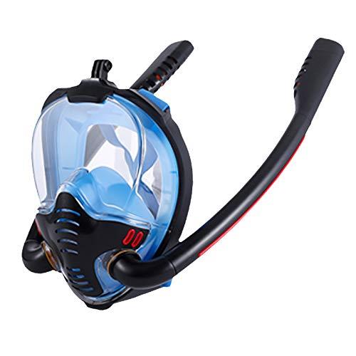 RatenKont Doble respirador de Snorkeling máscara de Buceo Cara Completa Estilo seco natación Snorkel Conjunto Equipo Accesorios bajo el Agua Blue Back L/XL