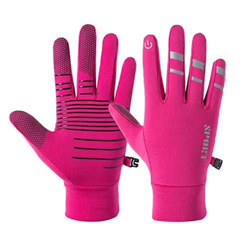 BRZSACR Touchscreen Handschuhe Winddicht Laufhandschuhe Anti-Rutsch Outdoor Sport Handschuhe Fahren Radfahren Handschuhe Fahrradhandschuhe mit Funktion für Smartphones Männer Frauen (Pink, M)