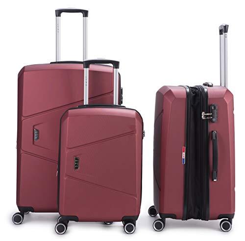 LYS – set met 3 koffers, zacht, ultralicht, met code TSA trolley 55 – 65 – 75 cm, 4 wielen, gevoerd, trolley, stof voor Ryanair, Easyjet, Lufthansa etc.