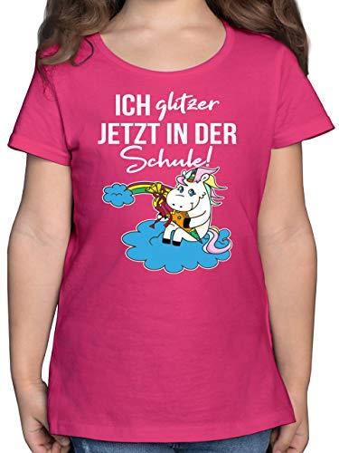 Einschulung und Schulanfang - Ich Glitzer jetzt in der Schule! Einhorn mit Schultüte - 164 (14/15 Jahre) - Fuchsia - Kindergarten Kind Shirt - F131K - Mädchen Kinder T-Shirt