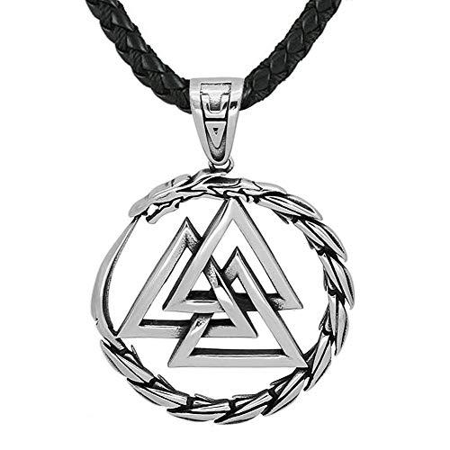 Herren Nordische Wikinger Amulett Halskette, Edelstahl Odin Dreieck Symbol Runen Anhänger Celtic Nordic Pagan Jewelry Geschenk Lederkette