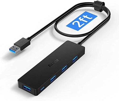 Aceele Hub USB 3.0 con 4 Puertos USB 3.0, Cable extensión de 65cm Adaptador USB Ultradelgado para Transmisión de Datos (5Gbps), Compatible con MacBook Air, Microsoft Surface Pro, PS4, HDD móvil y más