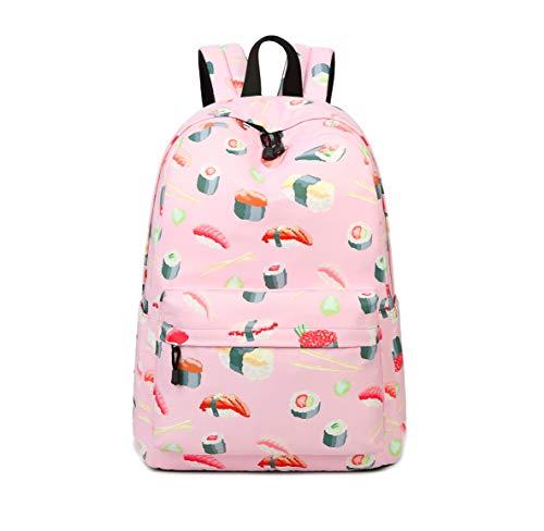 Joymoze Modischer Freizeitrucksack für Mädchen Jugendliche Schulrucksack Frauen Aufdruck Rucksack Geldbeutel (Sushi)