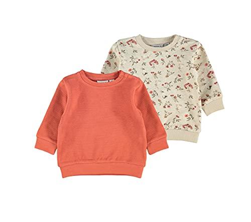 NAME IT Baby Baby-Mädchen NBFNIKOLINE 2P LS Sweat Sweatshirt, Peyote Melange, 74
