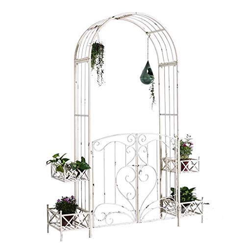 Garden Arch with Movable Door and Flower Pot Stand, Archway as Support for Climbing Plants, 164cmx40cmx222cm, Rose Arch