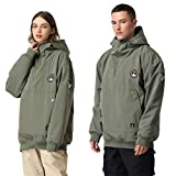 SENDEREAL Ski Suits Same Style for Men and Women Hooded 1/4 Zipper Warm Top Winter Outdoor Sports Ripstop Windproof Snowsuit,Army Green,XS