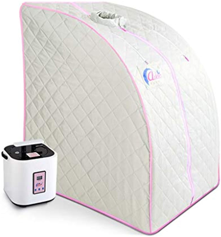 Infrarotheiz-Sauna-Box - Tragbare Dampfsauna 1000W, 1-9 Gang-Temperatureinstellung Elektronisch gesteuert, mit drahtloser Fernbedienung,Weiß