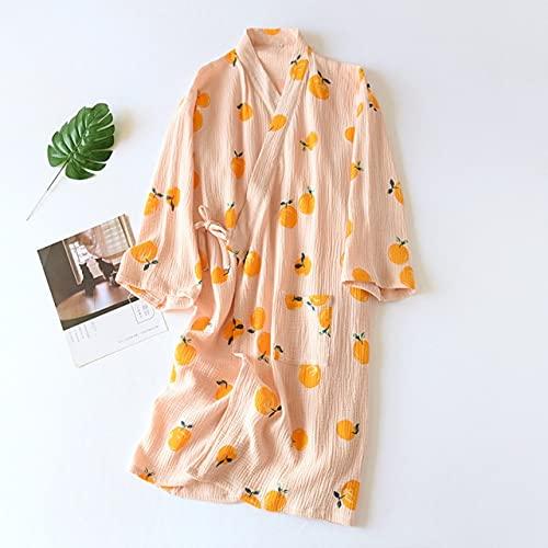 KASLXA Pijamas de Verano para Mujer, algodón Puro Fino, Batas de Kimono para Primavera/otoño, Ropa para el hogar, Albornoz de algodón de Vapor para el Sudor de SPA para Mujer-orange-1-M