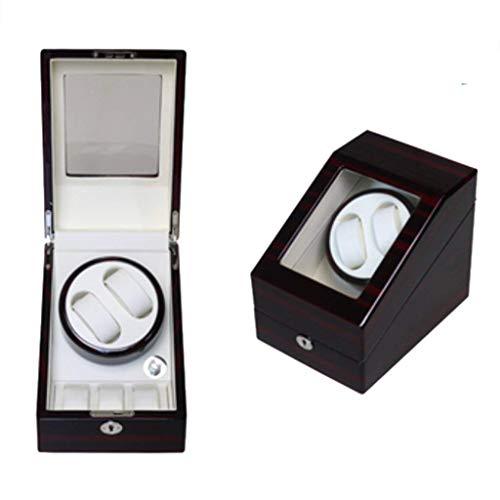 YLJYJ Enrollador automático de Relojes, Caja para el hogar, para 2 muñecas Relojes de Madera a Prueba de Agua Caja de bobinado Rotación Ultra silenciosa Giros por día, Tres Colores
