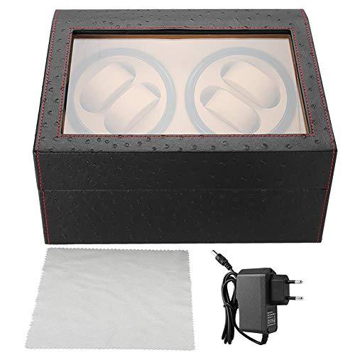 Ausla Expositor mecánico para 4 relojes automáticos y 6 vitrinas de almacenamiento de relojes con cristal transparente superior, fuente de alimentación del motor ultrasilenciosa (enchufe de la UE).