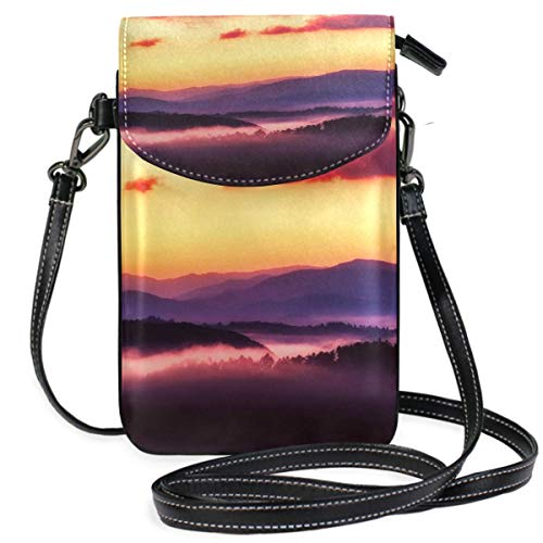 XCNGG Small Crossbody Coin Purse Great Smoky Mountains National Park Sunrise Sky Phonepurse for Women Bags Leather Multicolor smart phone Bags Purse With Removable Strap