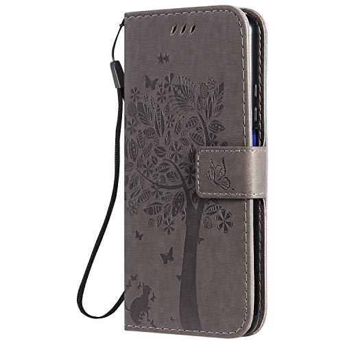 Hülle für Huawei nova 5T / Honor 20 Hülle Handyhülle [Standfunktion] [Kartenfach] [Magnetverschluss] Tasche Flip Case Cover Etui Schutzhülle lederhülle klapphülle für Huawei nova 5T - DEKT020790 Grau