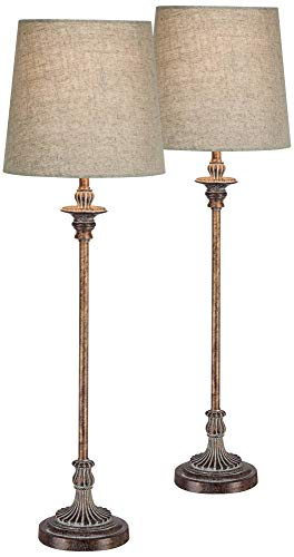 Bentley Weathered Brown Buffet Table Lamp Set of 2