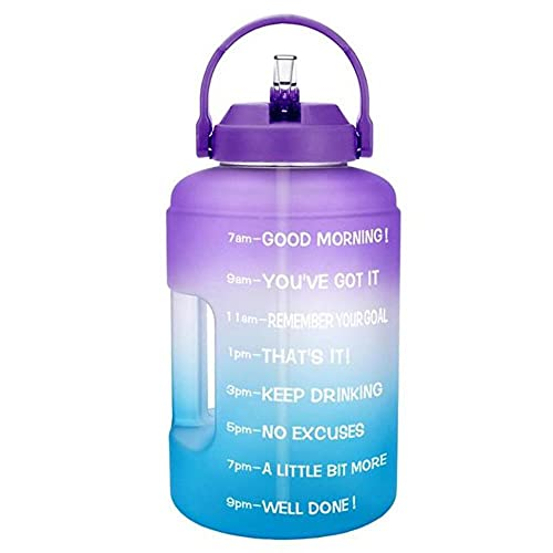 2.5L 3.78L Botellas de agua de plástico de boca ancha de un galón con pajita Deporte Fitness Turismo Viajes Jarras Soporte para teléfono-3.78L 128oz 1 Galón, Morado-A-Azul