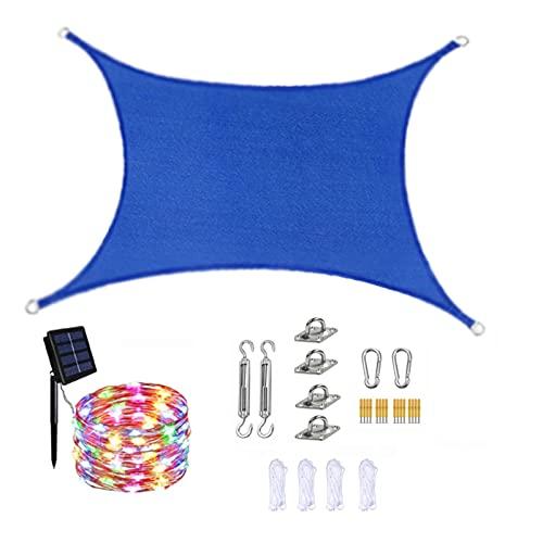 JMBF Parasol Rectangular Vela HDPE Parasol Vela Toldos Azules para Patio Impermeable con Luces de Hadas Solares LED Kit Kit de Instalación y Cuerda, 90% de Bloqueo UV,2x2m/78x78in