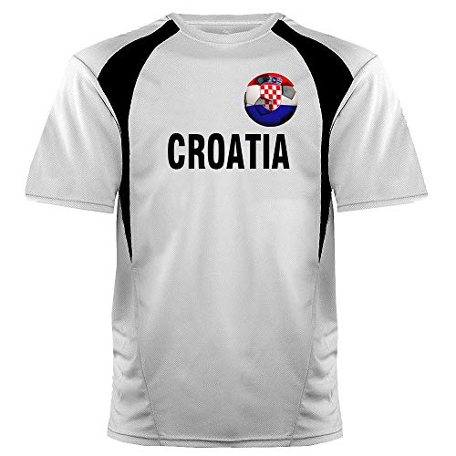 Custom Croatia Soccer Ball 1 Jersey Youth Large in White and Black