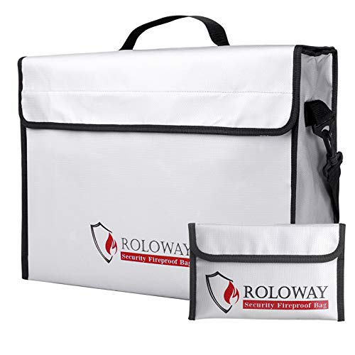 ROLOWAY Fireproof Document & Money Bags, Large Fireproof & Water Resistant Bag (16 x 12 x 5 inches), Fireproof Folder Safe Bag for Cash, Valuables & Passport, with Silicone Coating & Zipper Closure