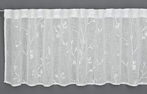 GARDINIA Bistrogardine mit verdeckten Schlaufen, Transparente Schiebegardine, Stickerei, Natur, 140 x 45 cm