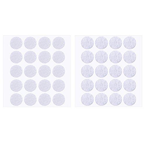 200 Stück 2 cm Durchmesser Selbstklebende Haken und Schleife Aufkleben Runde Klebrige Punkte Hakenpunkte Klettpunkte (Weiß)