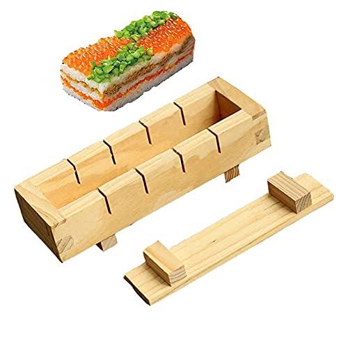 WLKH sushi Maker arroz molde madera sushi hacer kit set para cocina Oshizushi accesorios herramienta de cocina