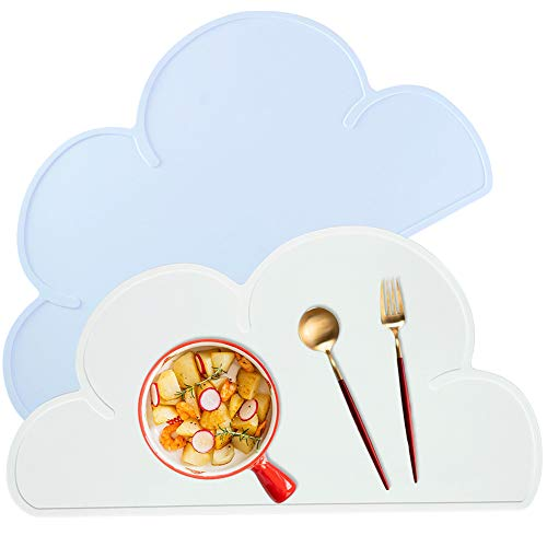 Juego de 2 manteles individuales de silicona con forma de nube, antideslizantes, impermeables, portátiles, para alimentos, para viajes, para niños pequeños, fácil limpieza, azul y blanco