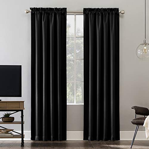 "Sun Zero Oslo Theater Grade Extreme 100% Blackout Rod Pocket Curtain Panel, 52"" x 63"", Black"