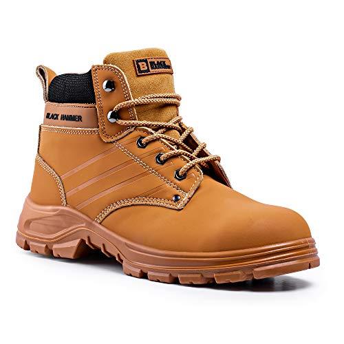 Botas de Seguridad para Hombre con Puntera de Acero Zapatos de Trabajo S3 SRC Tobillo de Cuero marrón Tan 5007 Black Hammer (44 EU)