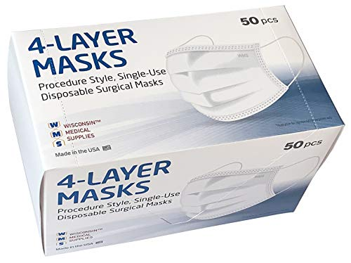 WMS 4-Layer Face Masks, Wisconsin Medical Supplies, MADE IN USA, 2 Pack (100 PCs)