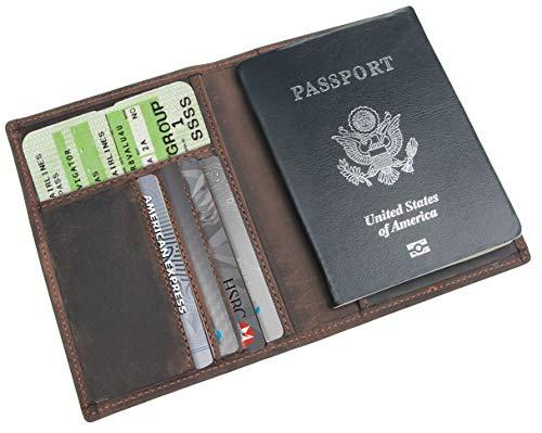 Polare Men's Slim RFID Blocking Leather Passport Holder Travel Bifold Wallet (Brown)