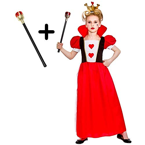 Girls Storybook Queen of Hearts + Royal Sceptre Fairytale Kids Fancy Dress Costume 11 - 13 years