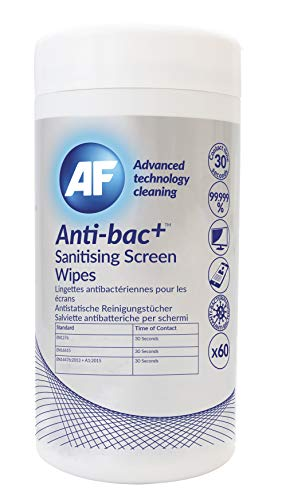 AF - Anti-bac+ Sanitising, Antibacterial Screen Cleaning Wipes – 60 wet wipes For Mobile Phones, TV's, Laptops, Monitors, LED, LCD, Plasma & Tablets