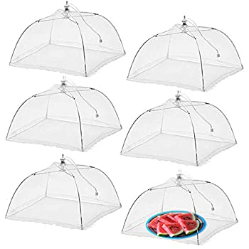Simply Genius  6 pack  Large and Tall 17x17 Pop-Up Mesh Food Covers Tent Umbrella for Outdoors Screen Tents Parties Picnics BBQs Reusable and Collapsible