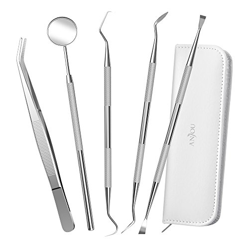 Dental Tools Professional 304 Stainless Steel, Anjou 5-in-1 Dental Hygiene Kit Oral Care Set with Mouth Mirror, Tweezers, Dental Probe, Dental Tartar Scraper & Sickle Scaler