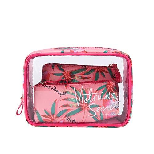 Style de Portable PVC Marque Sac étanche cosmétiques Voyage de PORTIER Trousse de Toilette Mode Transparent (Color : Powder Orchid 1)