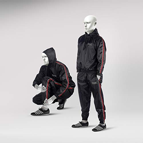 RAD Sauna Suit Men, Women Weight Loss Jacket Pant Gym Workout Sweat Suits with Hood (Red, Medium)