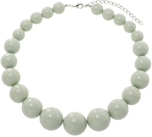 Behave halsketting met grote bolletjes, mint parelketting, modesieraad