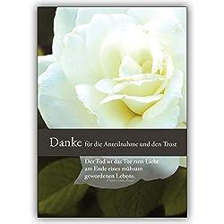 4 Trauer Dankeskarten (4er Set): Danke für die Anteilnahme und den Trost - Dankeskarte Trauer mit schöner Rose | Danksagung Premium-Trauerkarten-Set mit Umschlägen